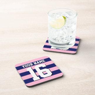 Cot Candy Pink Navy Blue Team Jersey Preppy Stripe Drink Coaster