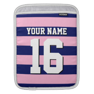 Cot Candy Pink Navy Blue Team Jersey Preppy Stripe iPad Sleeve