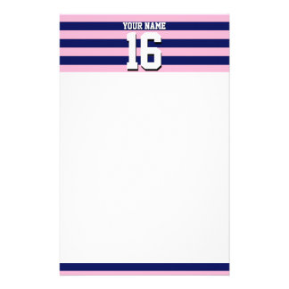 Cot Candy Pink Navy Blue Team Jersey Preppy Stripe Stationery
