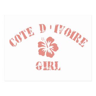 Cote D&Apos;Ivoire Pink Girl Postcard