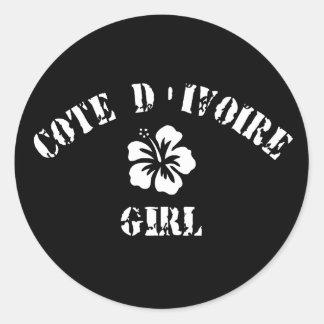 Cote D&Apos;Ivoire Pink Girl Round Sticker