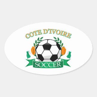 Cote D' Ivoire Soccer Designs Oval Sticker