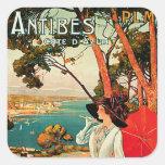 ~ Cote d'Azur de Antibes Calcomanías Cuadradass