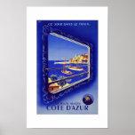 Cote D'azur France Vintage Travel Poster