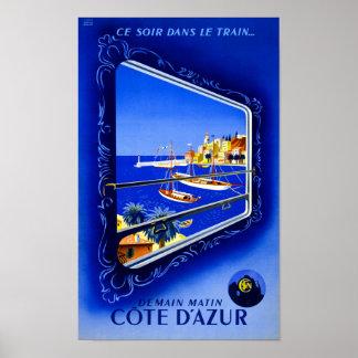 Cote d'Azur Vintage Poster Restored