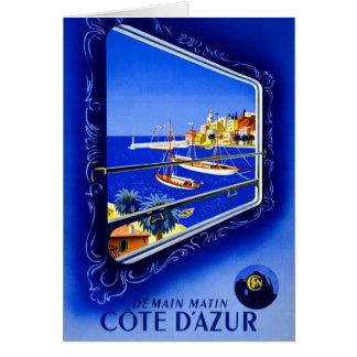 Cote d'Azur Vintage Poster Restored Card