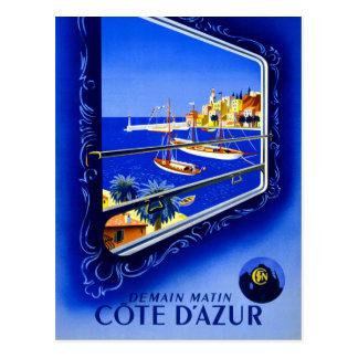 Cote d'Azur Vintage Poster Restored Postcard