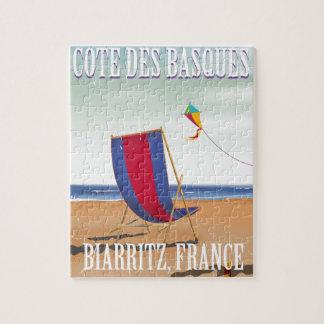 Cote des Basques France travel poster Jigsaw Puzzle