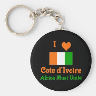 Cote d'Ivoire Basic Round Button Keychain