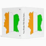 Cote Divoire Flag Map full size 3 Ring Binder