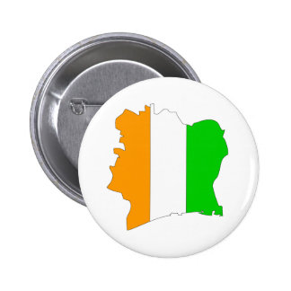 Cote Divoire Flag Map full size Pinback Button