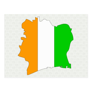 Cote Divoire Flag Map full size Post Card