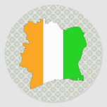 Cote Divoire Flag Map full size Round Stickers