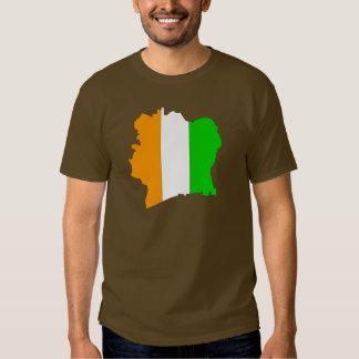 Cote Divoire flag map Tshirts