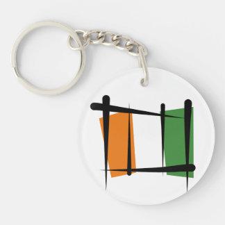 Cote d'Ivoire Ivory Coast Brush Flag Double-Sided Round Acrylic Keychain