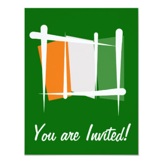 Cote d'Ivoire Ivory Coast Brush Flag Personalized Invitations