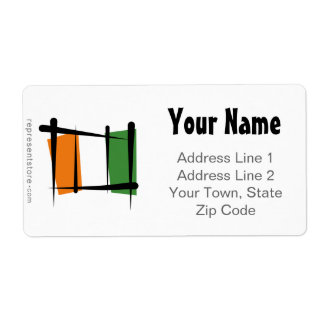 Cote d'Ivoire Ivory Coast Brush Flag Label