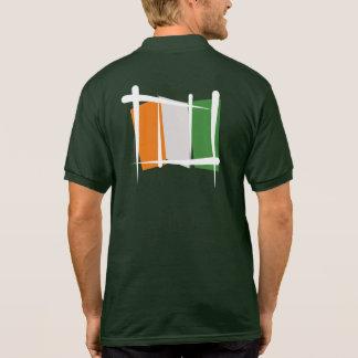 Cote d'Ivoire Ivory Coast Brush Flag Polo Shirt