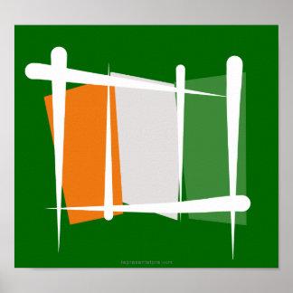 Cote d'Ivoire Ivory Coast Brush Flag Posters