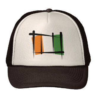 Cote d'Ivoire Ivory Coast Brush Flag Trucker Hat