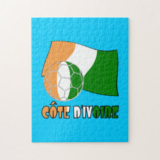 Cote D'Ivoire Soccer Ball and Flag Puzzle