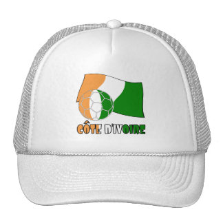 Cote D'Ivoire Soccer Ball and Flag Trucker Hat