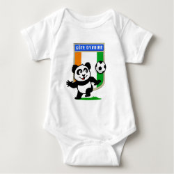 Baby Jersey Bodysuit with Cote D'ivoire Soccer Panda design