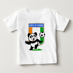 Baby Fine Jersey T-Shirt with Cote D'ivoire Soccer Panda design