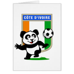 Greeting Card with Cote D'ivoire Soccer Panda design