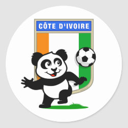 Round Sticker with Cote D'ivoire Soccer Panda design