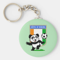Basic Button Keychain with Cote D'ivoire Soccer Panda design