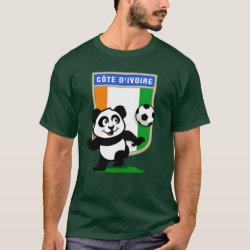 Men's Basic Dark T-Shirt with Cote D'ivoire Soccer Panda design