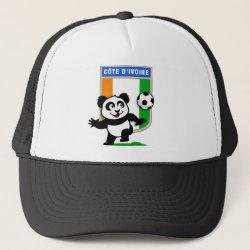 Trucker Hat with Cote D'ivoire Soccer Panda design