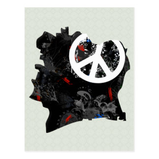 Cote Divoire Trendy Peace Sign with Ivoirian map Postcards
