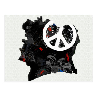 Cote Divoire Trendy Peace Sign with Ivoirian map Post Cards