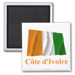 Cote D'Ivoire Waving Flag with Name in French Magnets