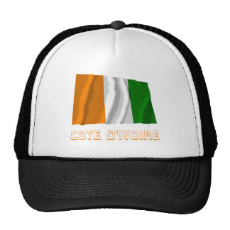Cote d'Ivoire Waving Flag with Name Trucker Hat