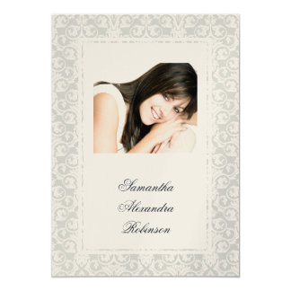 "Cotillion Silver Shimmer Damask Photo Invitations 5"" X 7"" Invitation Card"