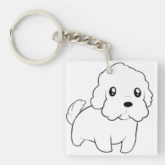 coton de tulear cartoon.png keychain