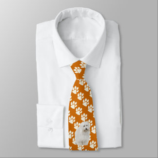 Coton De Tulear on rust with white Paw Prints Neck Tie
