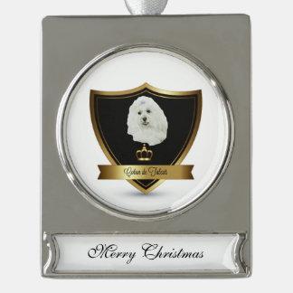 Coton de Tulear Silver Plated Banner Ornament