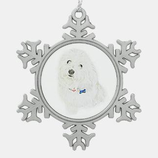 Coton de Tulear Snowflake Pewter Christmas Ornament