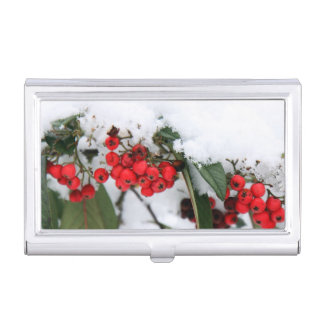 Cotoneaster Fruits with a Snow Hat Business Card Case