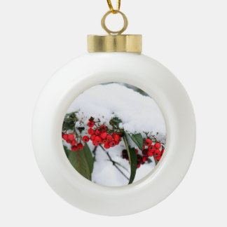 Cotoneaster Fruits with a Snow Hat Ceramic Ball Christmas Ornament