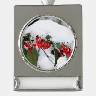 Cotoneaster Fruits with a Snow Hat Silver Plated Banner Ornament