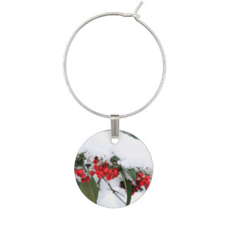 Cotoneaster Fruits with a Snow Hat Wine Glass Charm