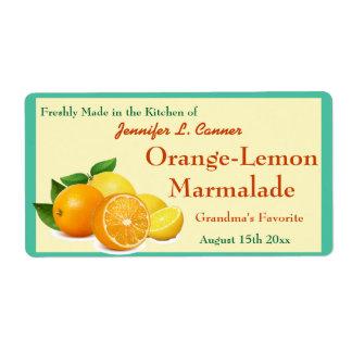 Cotos anaranjados de la mermelada del limón que etiqueta de envío