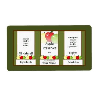 Cotos de Apple que conservan la etiqueta del tarro Etiqueta De Envío