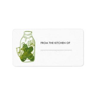 Cotos de cristal de la comida del tarro de las etiquetas de dirección