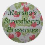 Cotos de fresa personalizados que conservan la pegatinas redondas